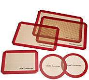 As Is Cooks Essentials 6 pc Silicone Baking Mat Set - K307609