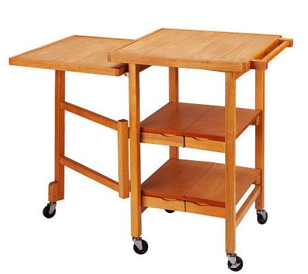 Folding island expandable hardwood kitchen cart page 1 for Collapsible kitchen cart