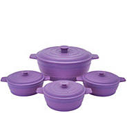 As Is Cooks Essentials 4 pc Microwave Silicone Casserole Set - K307610