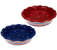 Temp-tations Red, White & Blue Set of 2 Pie Plates - K40810