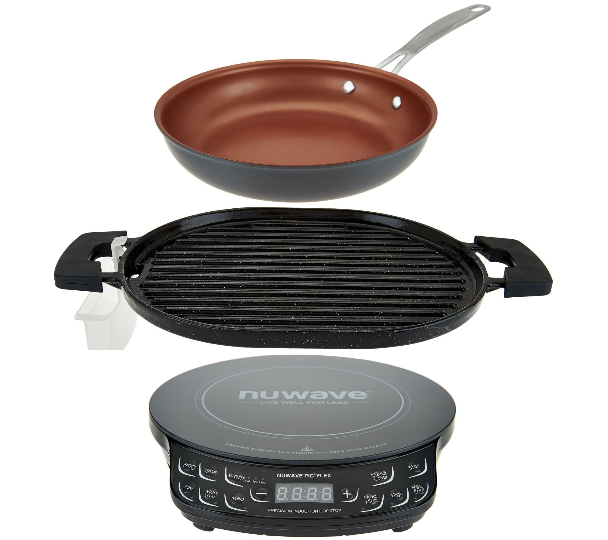 NuWave Induction Cooktop Flex w Cast Iron Grill 9 Fry Pan