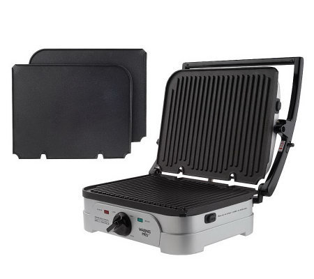 Waring pro grill griddle w 4 removable non stick plates k24111 - Health grill with removable plates ...