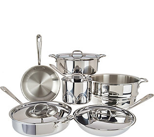 All Clad Tri Ply Stainless Steel 10 Piece Cookware Set