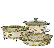 As Is Temp- tations Old World Cook & Look 3pc Round Baker Set - K307213