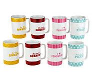 Cake Boss Set of 8 Porcelain Mugs - K39913