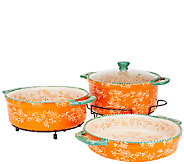 As Is Temp- tations Floral Lace Cook & Look 3pc Round Baker Set - K307214