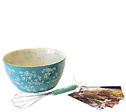 Temp-tations Floral Lace 4-qt Bowl with Whisk and Recipe Cards - K304115
