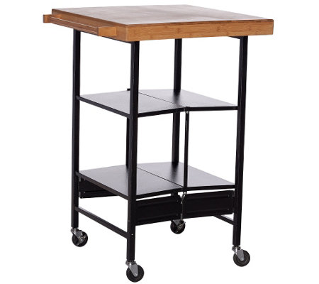 Temp tations floral lace bamboo top folding kitchen cart for Collapsible kitchen cart