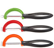 moHA! Set of 3 Rotating Fruit, Veggie & Julienne Peelers - K45715