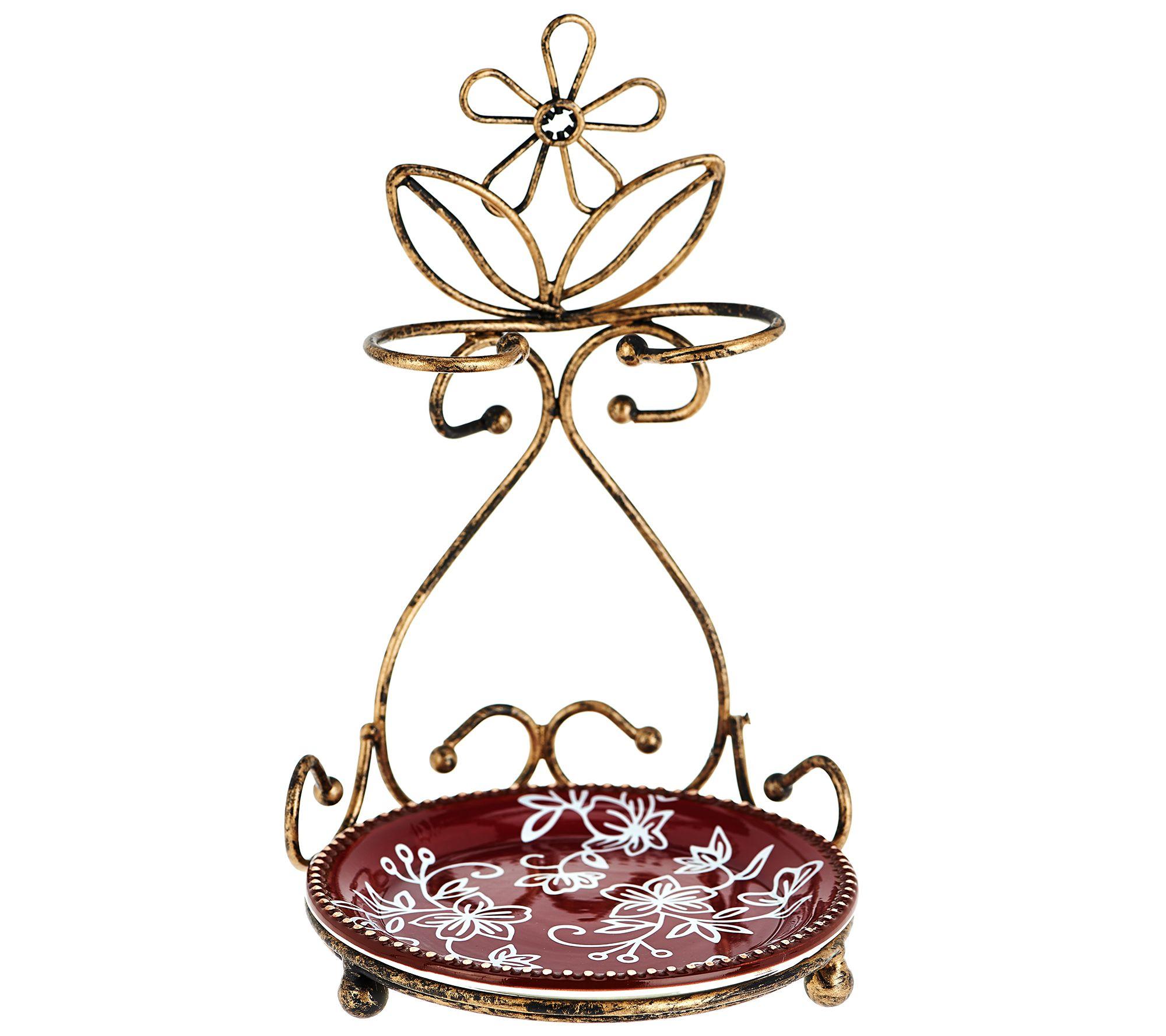 Temptations Floral Lace Spoon Rest Antique Gold  K43618