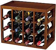 12-Bottle Cube-Stackable Hardwood Wine Rack  -Walnut Finish - K302219