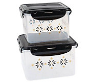 Temp-tations Old World Set of 2 Square StorageContainers - K304019