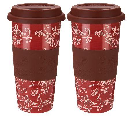 Temp Tations Floral Lace Set Of 2 Ceramic Travel Mugs