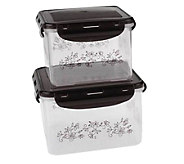 Temp-tations Floral Lace Set of 2 Square Storage Containers - K304021