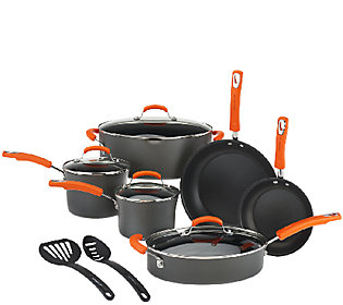 As Is Rachael Ray Hard Anodized 12 Piece Cookware Set