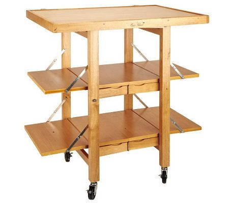 Folding island kitchen cart with extendable shelves page for Collapsible kitchen cart