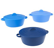 Set of 3 Nesting Silicone Round Pots by MarkCharles - K40923