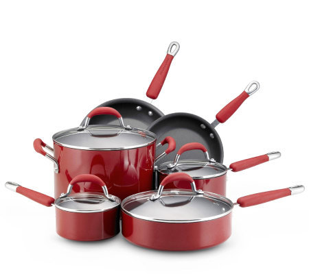 Kitchenaid porcelain 10 piece cookware set red - Kitchen aid pan set ...
