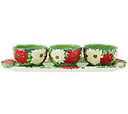 Temp-tations Figural Floral Poinsettia 4-Piece Appetizer Set - K40924