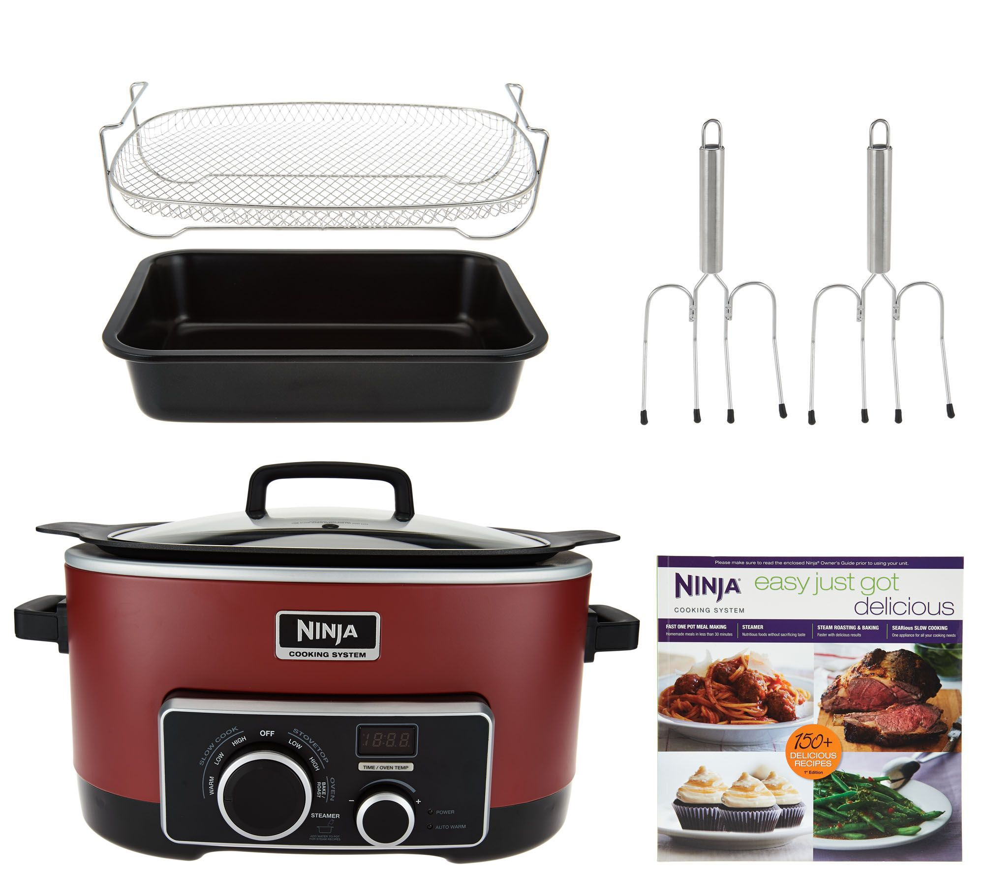 4-in-1 Ninja Cooking System w/ Recipe Book, Bake Pan & Lifting ...