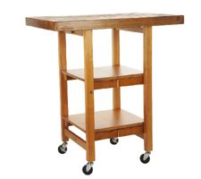 Folding Island Kitchen Cart with Hand Brushed Textured Top