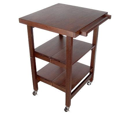 Folding island cherry finish kitchen cart w butcher block for Collapsible kitchen cart