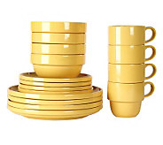 Tabletops Gallery Yellow Stax 16-Piece Dinnerware Set - K299827