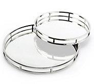 Twos Company Set of 2 Round Mirrored Trays - K375127