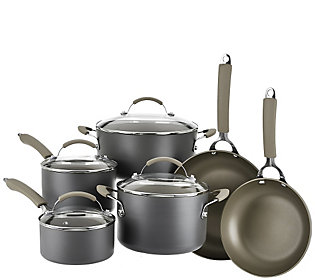 Cooksessentials Hard Anodized Dishwasher Safe 10 Piece Cookware Set