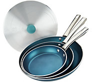 Cooks Essentials 4-pc Aluminum Skillets & Universal Lid - K44827