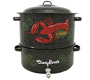 19-qt Lobster Pot with Steamer Insert, Faucet,and Lid - K129928