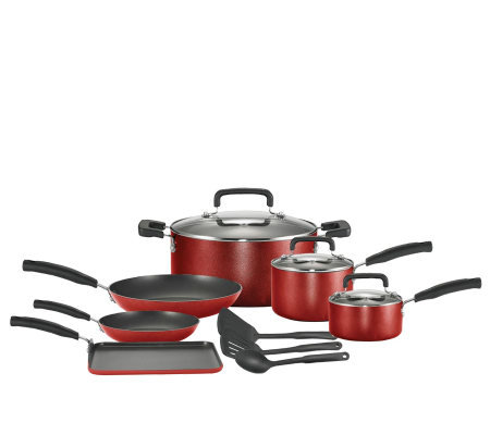 T-Fal 12 Piece Cookware Set - Red