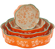 As Is Temp-tations Floral Lace Set of 4 Nested Cake Pans - K307228