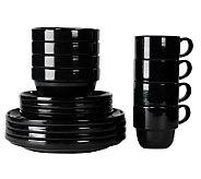 Tabletops Gallery Black Stax 16-Piece Dinnerware Set - K299829