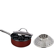 CooksEssentials Aluminum Egg Poacher Set with Folding Flower Steamer - K44829
