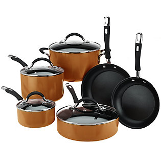 As Is Cook's Essentials Porcelain Enamel 10 Piece Cookware Set