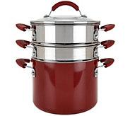 As Is Cooks Essentials 5qt Aluminum Pot w/ Steamer & Pasta Insert - K307730
