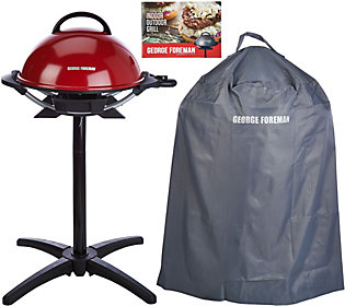 George Foreman 15 Serving Indoor/Outdoor Grill w/ Cover & Recipes