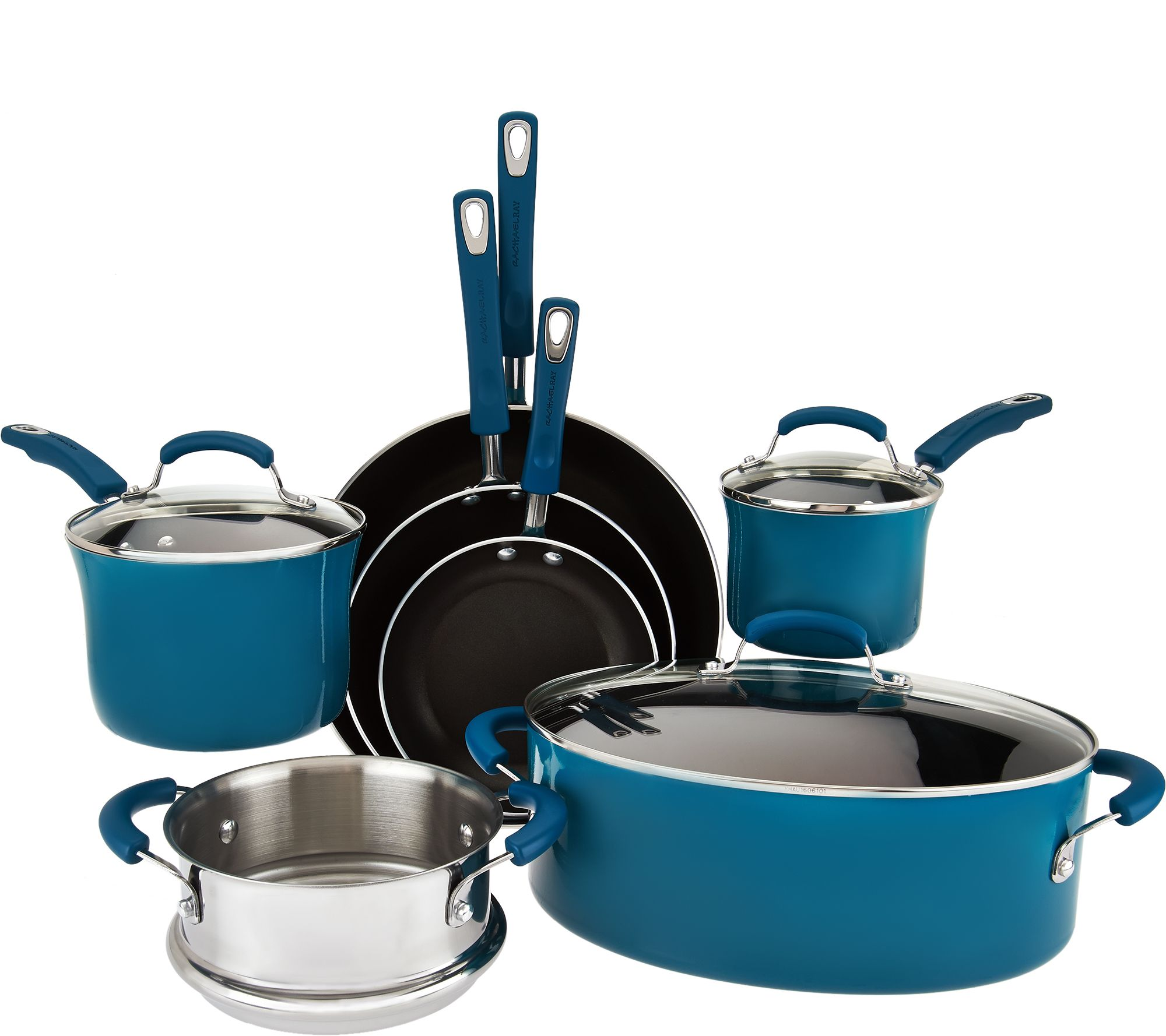Kick off your cooking in style with the help of this vibrant Rachael Ray cookware set. Gift Givers: This item ships in its original packaging. If intended as a gift, the packaging may reveal the contents.