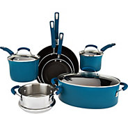 As Is Rachael Ray 10-piece Gradient Porcelain Enamel Cookware - K307731