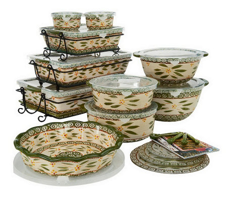 Temp tations old world 24 piece complete oven to table set qvc