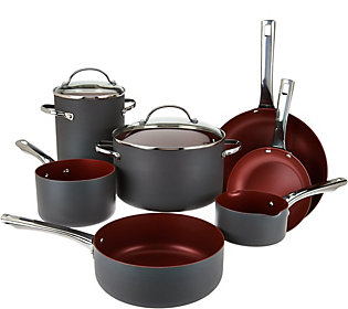 Cook's Essentials 10pc Non Stick Hard Anodized Cookware Set