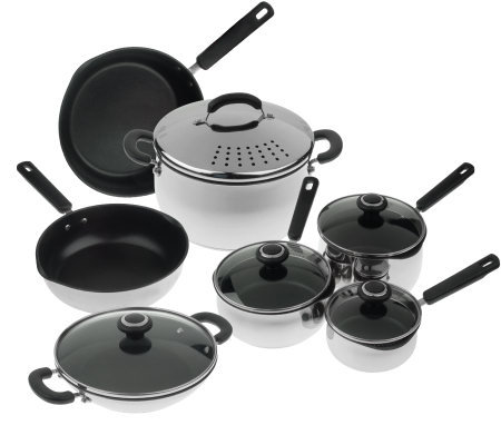 CooksEssentials Stainless Steel Nonstick 12pc Cookware Set