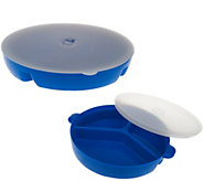As Is CooksEssentials Set of 2 Microwave Divided Dishes - K307432