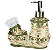 Temp-tations Old World Soap and Scrub Brush Set with Holder - K40532