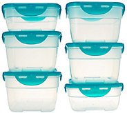 Lock & Lock 6pc Nestable Rectangle Storage Set w/ Color Lids - K42632