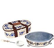 Temp-tations Floral Lace Basketweave 3qt Pack n Go Baker - K46932