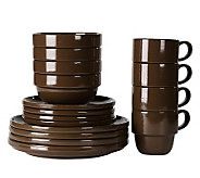 Tabletops Gallery Brown Stax Living 16-Piece Dinnerware Set - K299833