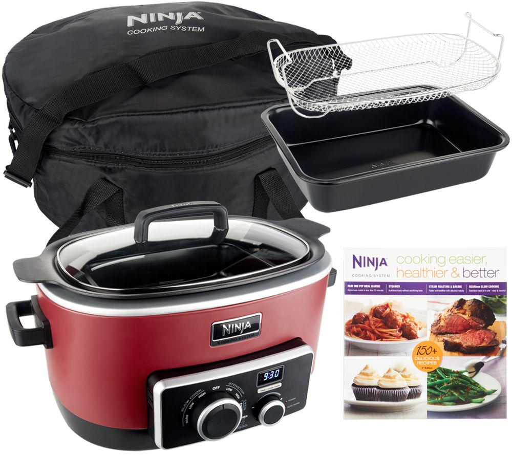 4-in-1 ninja cooking system w/ recipe book, bake pan & travel bag