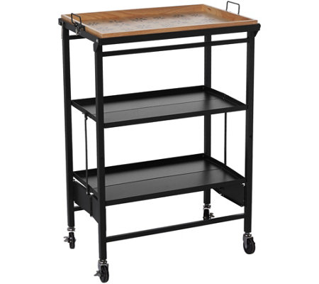 Temp tations old world folding kitchen cart w removable for Collapsible kitchen cart